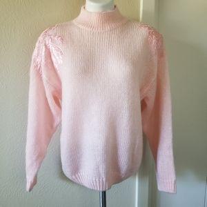 Vintage 80s 90s Sequin Patch Mock Neck Sweater M